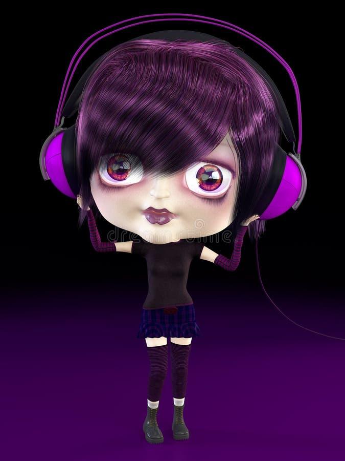 Mädchen mit Kopfhörern. vektor abbildung