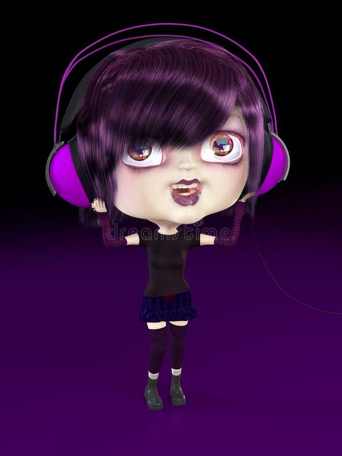 Mädchen mit Kopfhörern. lizenzfreie abbildung