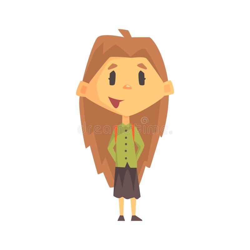 Mädchen mit langem Brown-Haar lächelnd, Grundschule-Kind, grundlegendes Klassen-Mitglied, lokalisierter junger Student Character stock abbildung