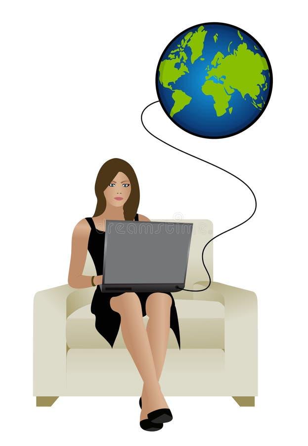 Mädchen mit Laptop stock abbildung