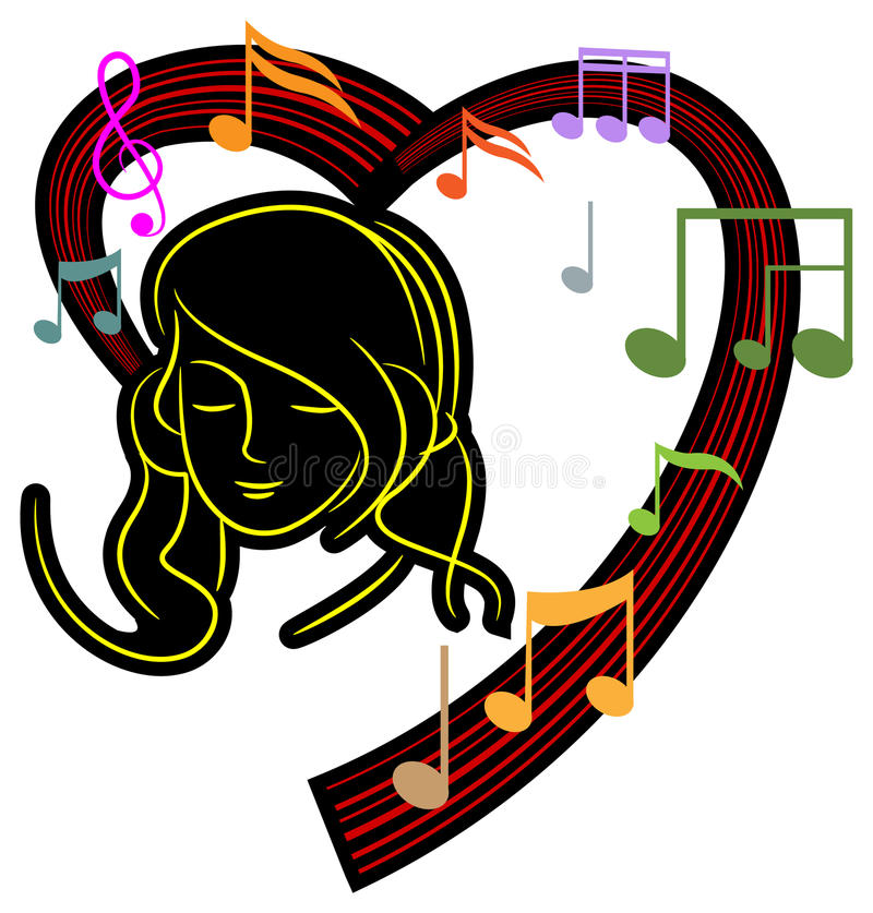 Mädchen mit Musik lizenzfreie abbildung