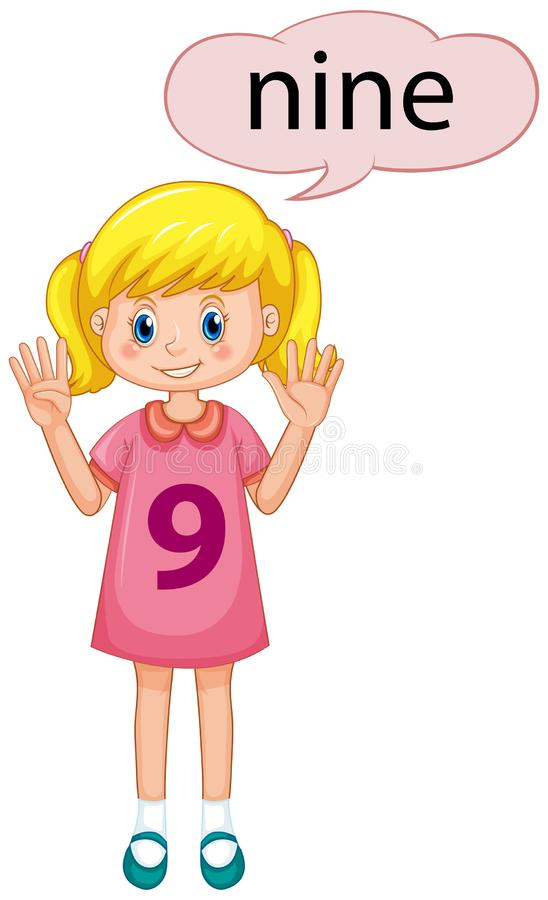 Mädchen mit Nr. neun stock abbildung