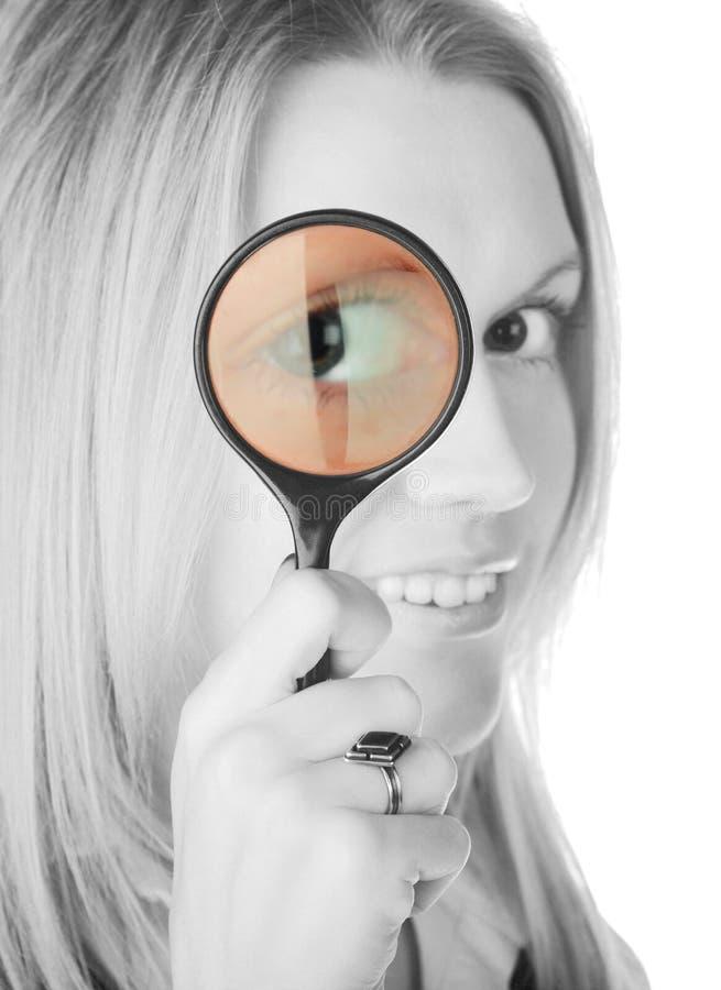 Download Mädchen mit Objektiv stockfoto. Bild von freundlich, weiß - 12202488