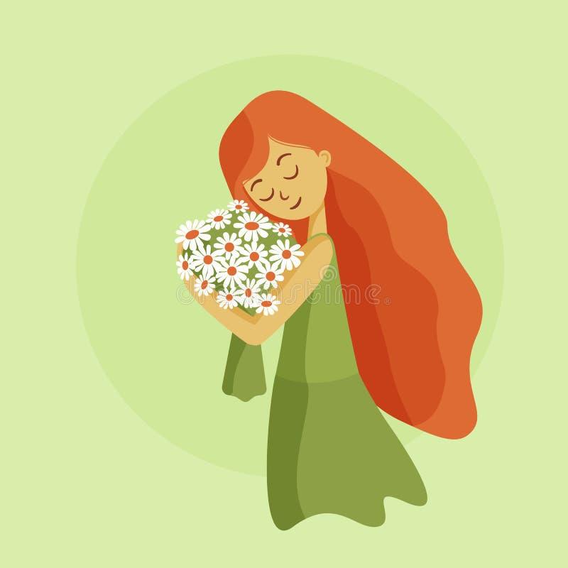 Mädchen mit orange Haarumarmungsblumen stock abbildung
