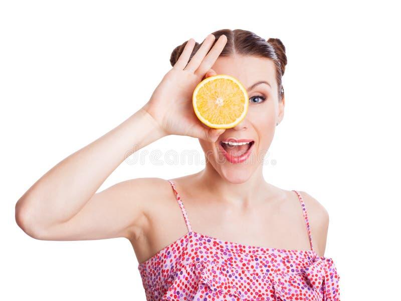 Mädchen mit Orangen in ihren Augen lizenzfreie stockfotos