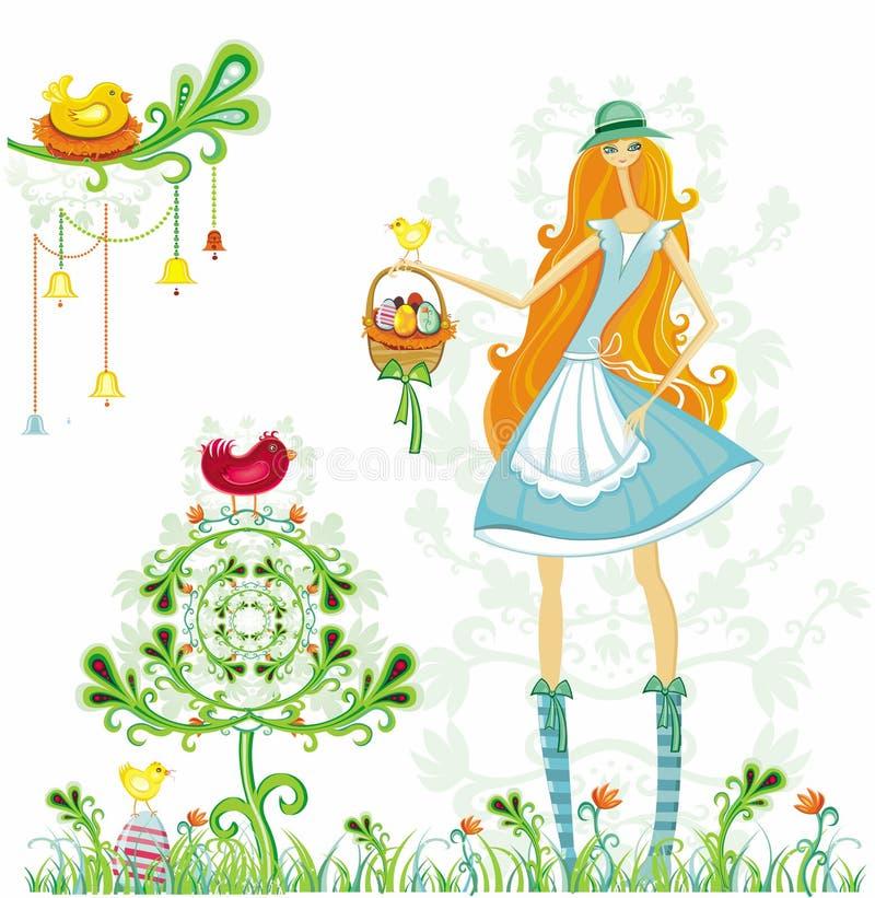 Mädchen mit Ostereiern und Vogel