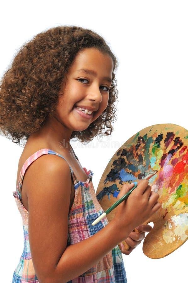 Mädchen mit Palette stockfoto