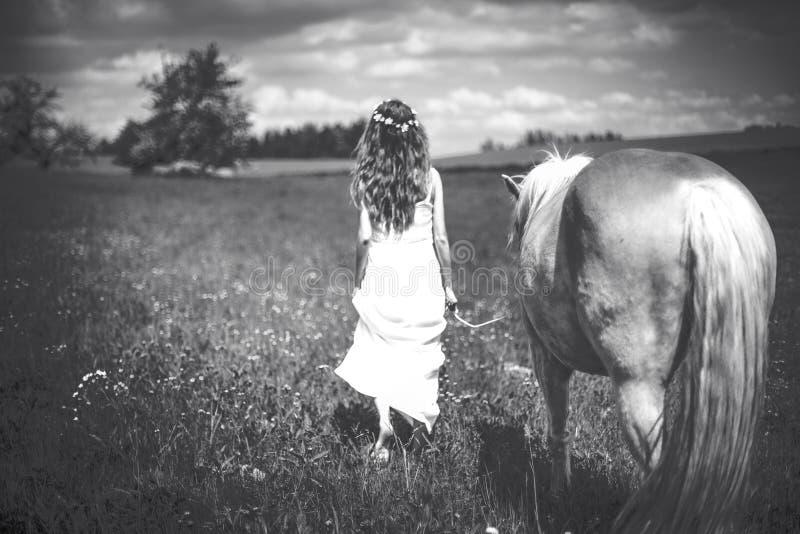 Mädchen mit Pferd auf Wiese stockfoto