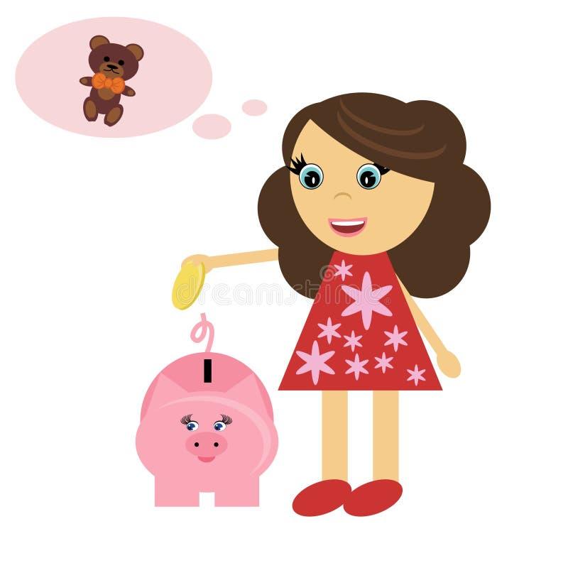 Mädchen mit piggy Querneigung vektor abbildung