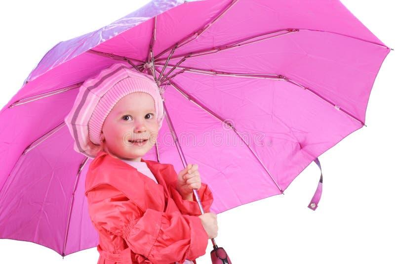 Mädchen mit Regenschirm stockfoto