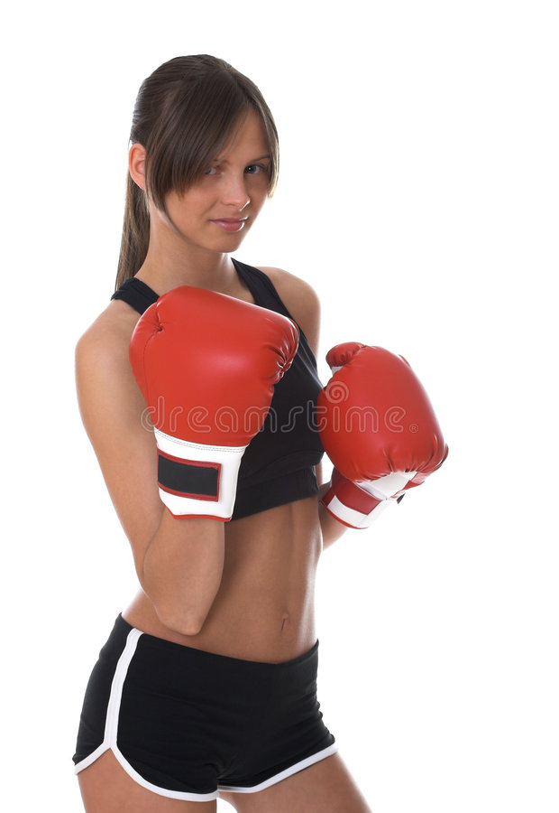 Mädchen mit roten Verpackenhandschuhen stockfoto