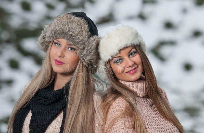 Mädchen mit schönem bilden und Schneeflocke, Waldhintergrund stockfotografie