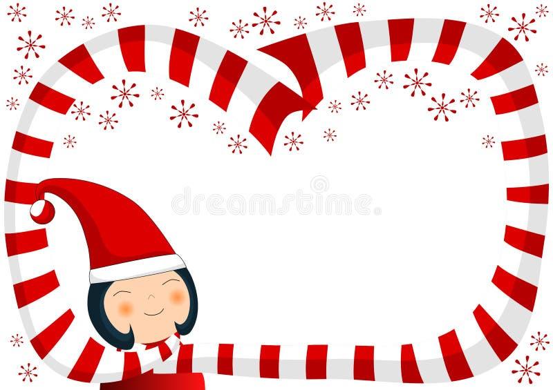 Mädchen mit Schal-und Schneeflocke-Weihnachtsgrenze lizenzfreie abbildung