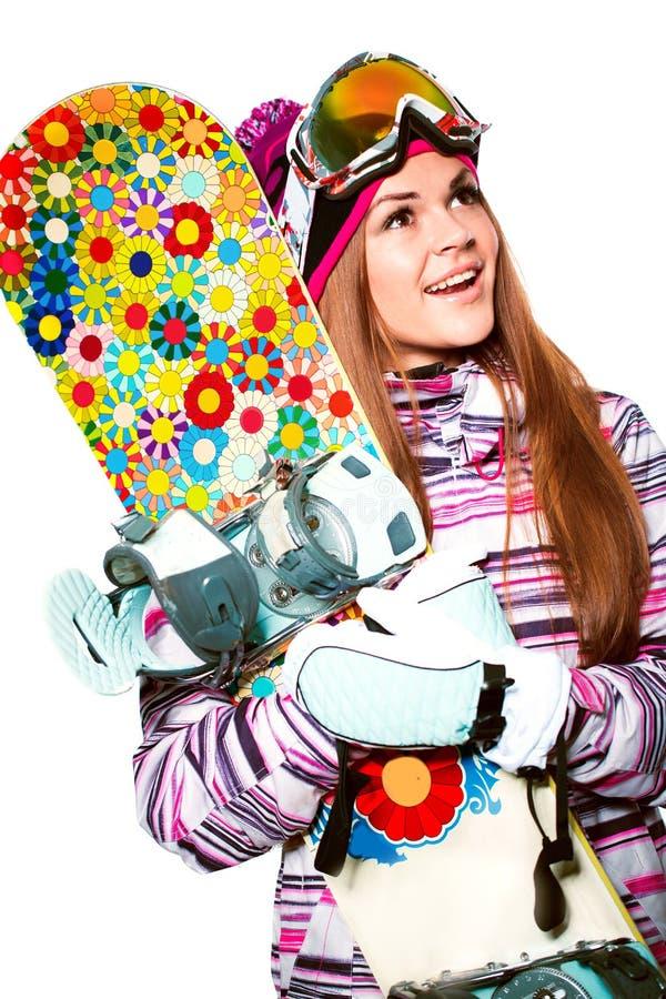 Mädchen mit Snowboard lizenzfreie stockbilder