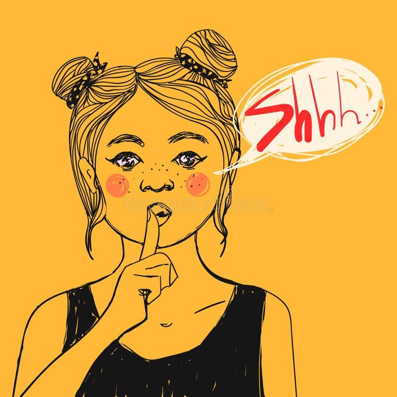 Mädchen mit Sommersprossen, die rosa Backen, die Shhh Zeichen und Text machen, sprudeln und bitten um Ruhe Auch im corel abgehobe stock abbildung