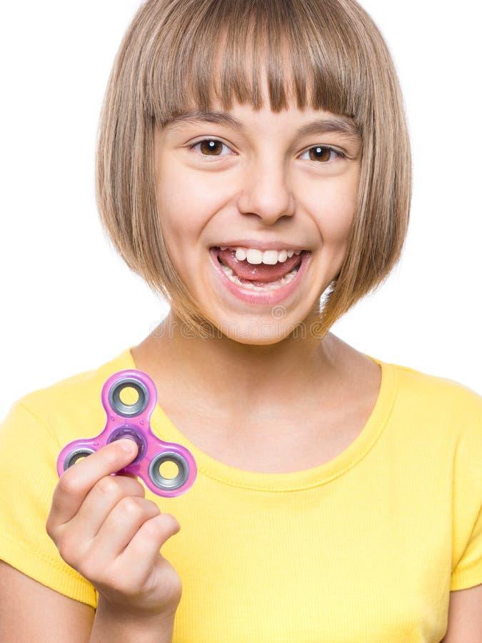 Mädchen mit Spinner lizenzfreies stockbild