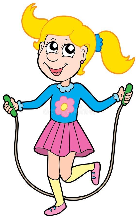 Mädchen mit springendem Seil stock abbildung
