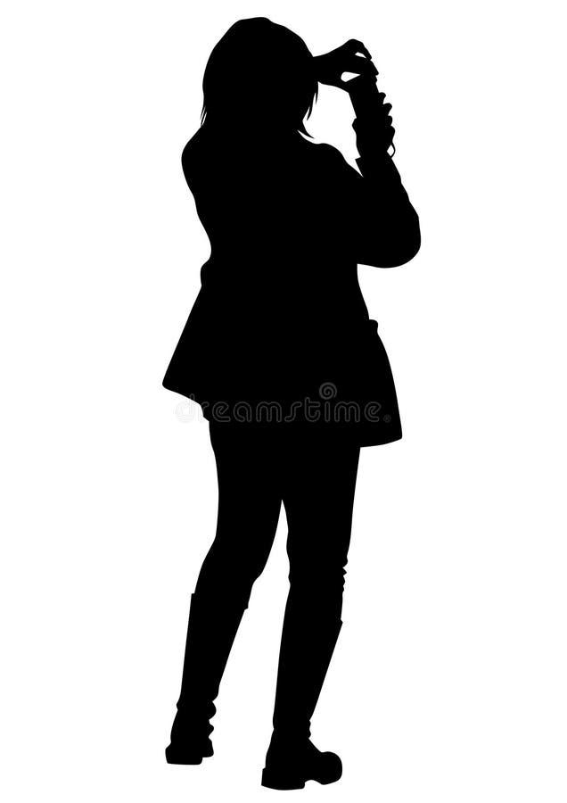 Mädchen mit Telefon vektor abbildung