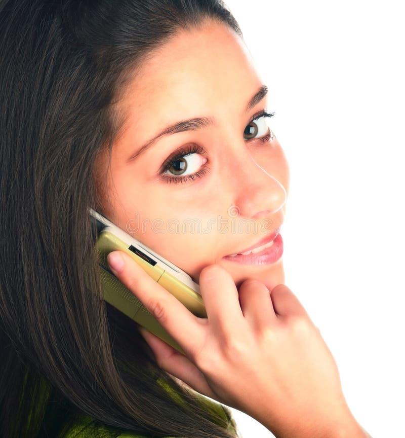 Mädchen mit Telefon stockbild