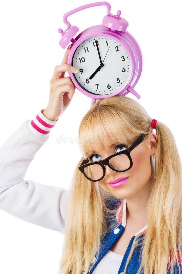 Mädchen mit Uhr stockbilder