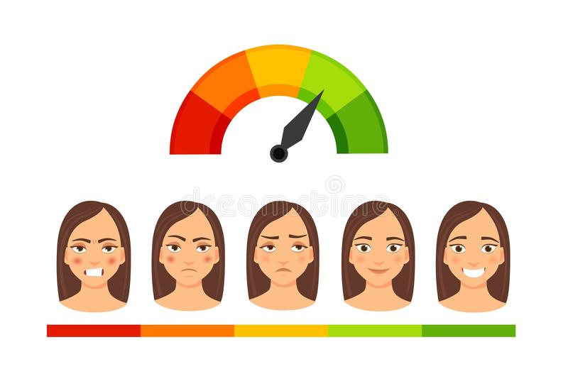 Mädchen mit verschiedenen Gefühlen stock abbildung