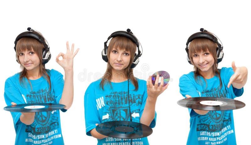 Mädchen mit Vinylplatte und CD-Platte stockfotografie