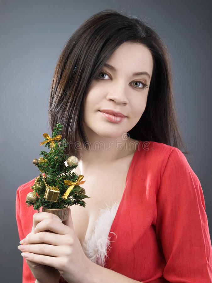 Mädchen mit Weihnachtsbaum stockfotos
