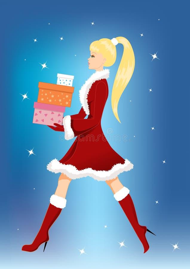 Mädchen mit Weihnachtsgeschenken stock abbildung