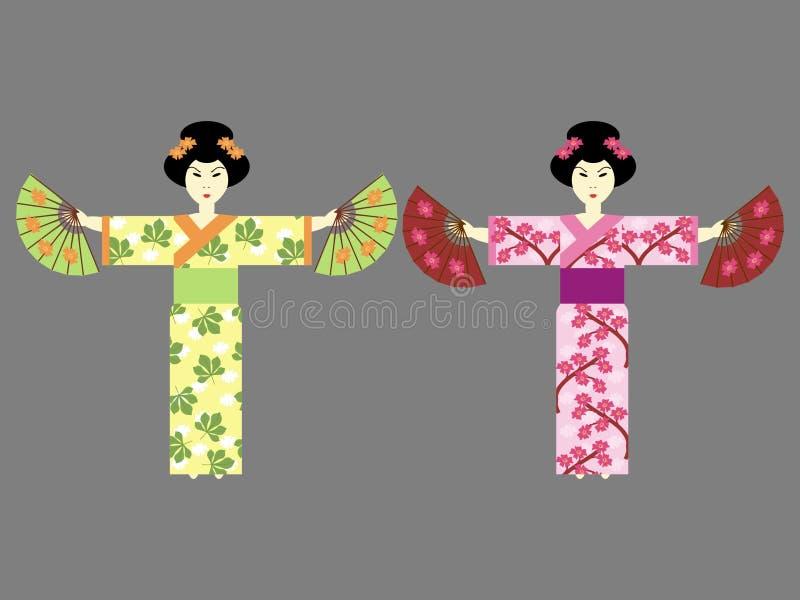 Mädchen mit zwei Japanern mit Gebläsen lizenzfreie abbildung