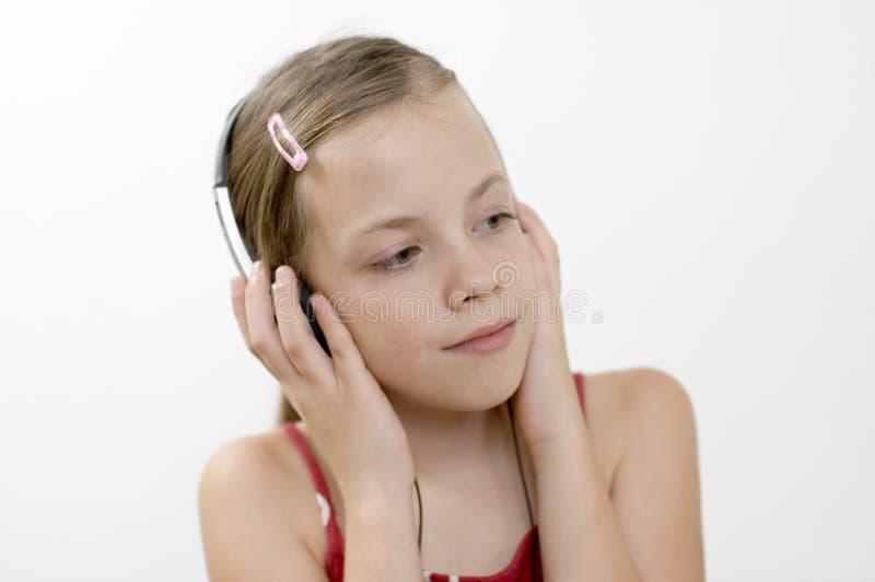 Mädchen/Musik/Weiß stockbilder