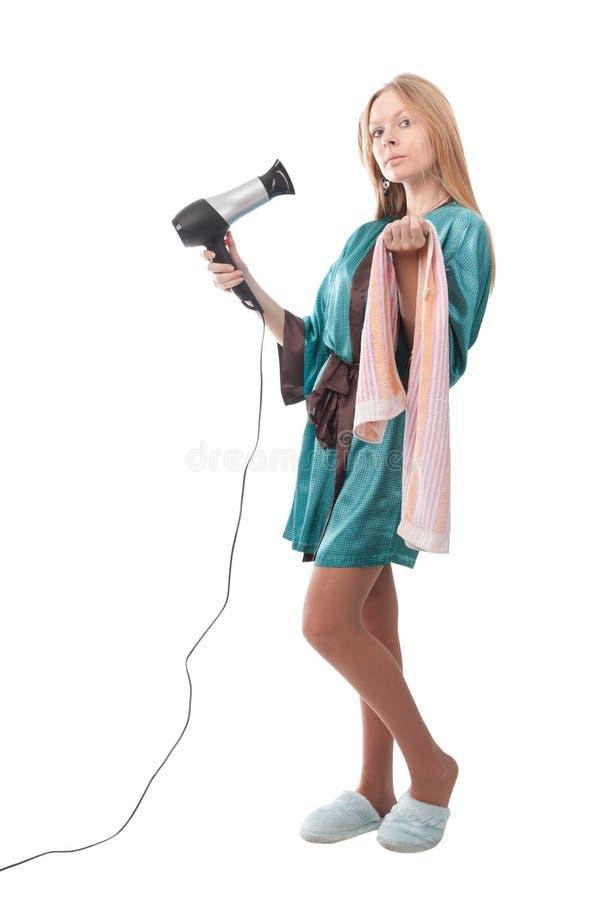 Mädchen, nachdem die Dusche genommen worden ist stockfotografie