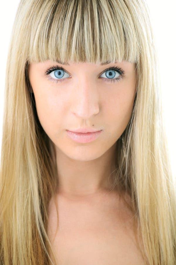 Mädchen-Nahaufnahmegesicht der Schönheit blondes stockbilder