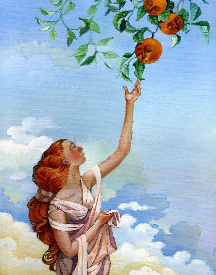 Mädchen nimmt Orangen vom Himmel vektor abbildung