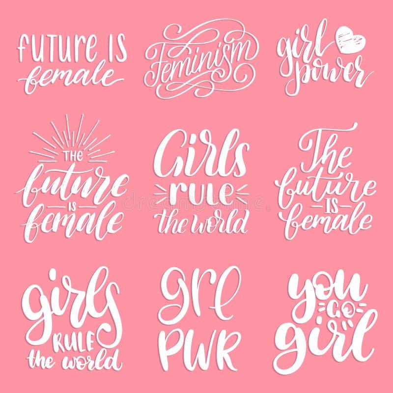 Mädchen ordnen die Welt, Zukunft ist weibliche usw. an, die handgeschriebenen eingestellten Phrasen Kalligraphische Sammlung des  stock abbildung