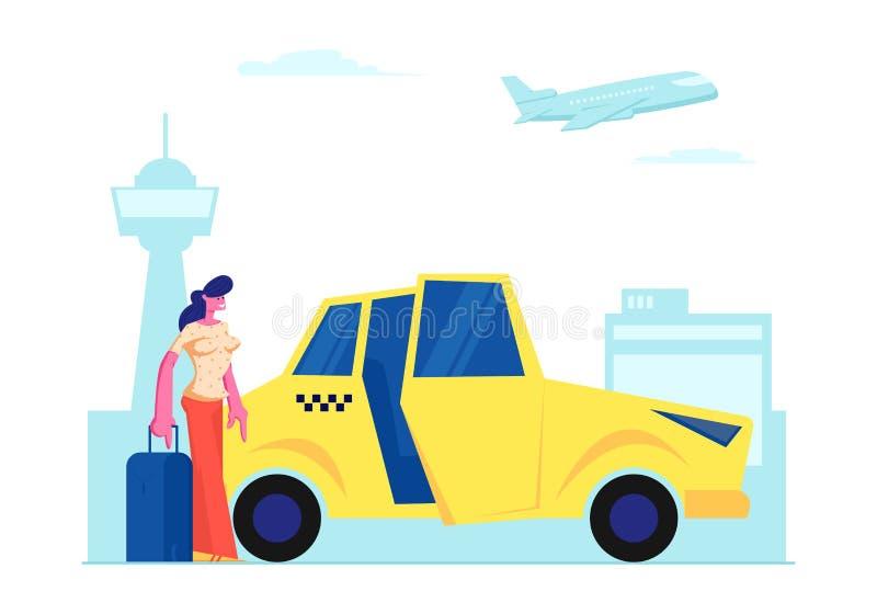 Mädchen-Passagier mit Gepäck-Stand nahe gelbem Taxi-Auto auf Flughafen-Hintergrund Frau mit dem Koffer, der geht, im Fahrerhaus z lizenzfreie abbildung