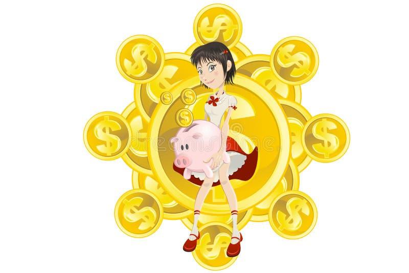 Mädchen, piggy Querneigung und Goldmünze lizenzfreie abbildung