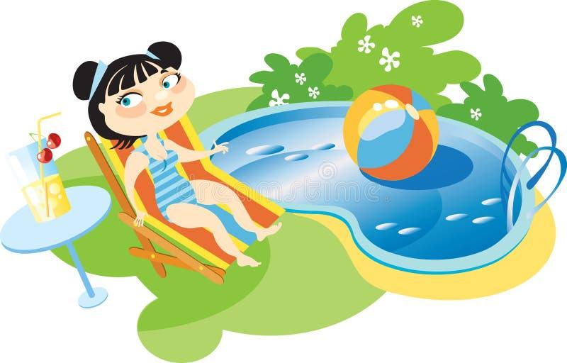 Mädchen am Pool stock abbildung