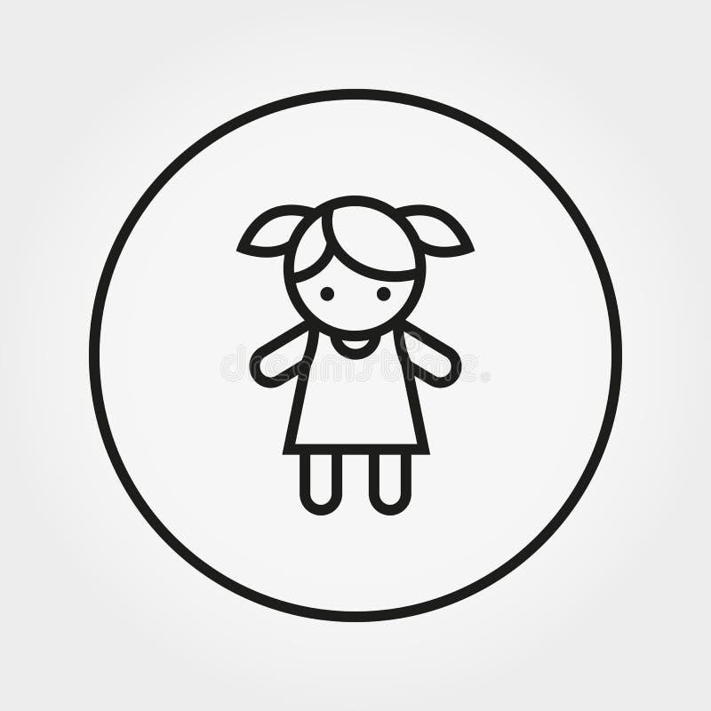 Mädchen puppe spielzeug Vektor ikone zeile vektor abbildung