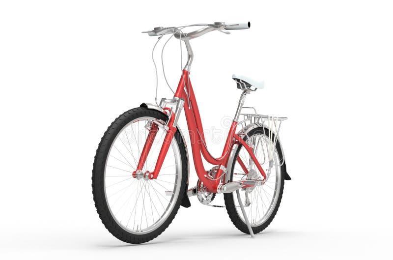 Mädchen-rotes Fahrrad - Front View stockfoto