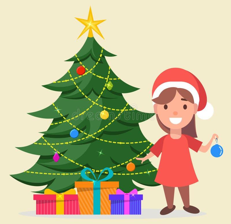 Mädchen in Santa Claus-Hut, der nahe verziertem Weihnachtsbaum w steht vektor abbildung