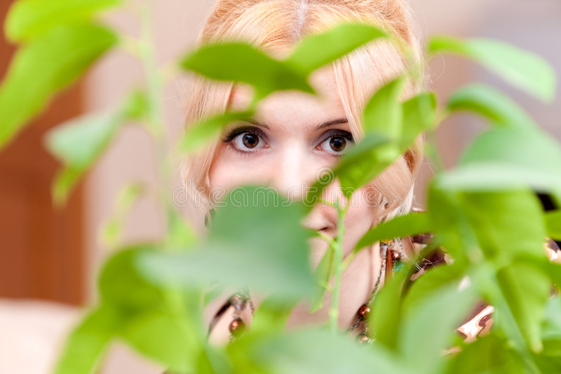 Mädchen schaut wegen der Blätter stockfotos