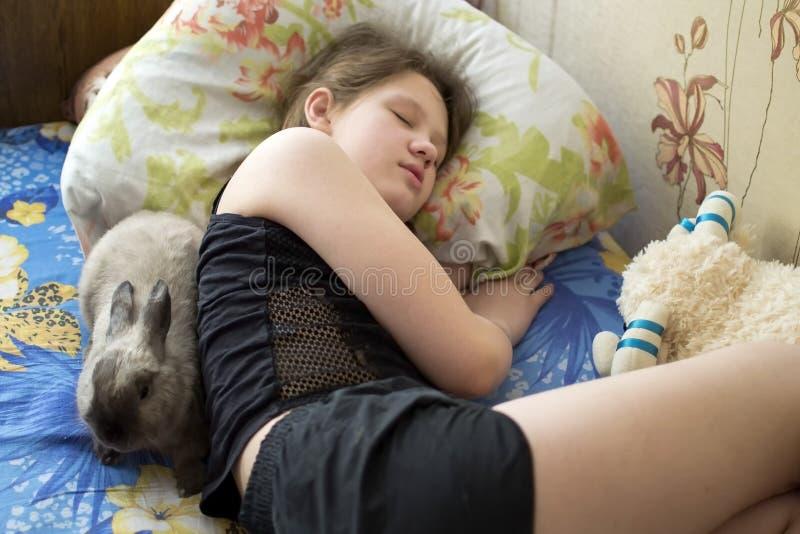 Mädchen schläft mit Häschen lizenzfreie stockfotos