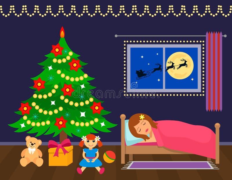 Mädchen schläft nahe dem Weihnachtsbaum und den Wartung Geschenke stock abbildung