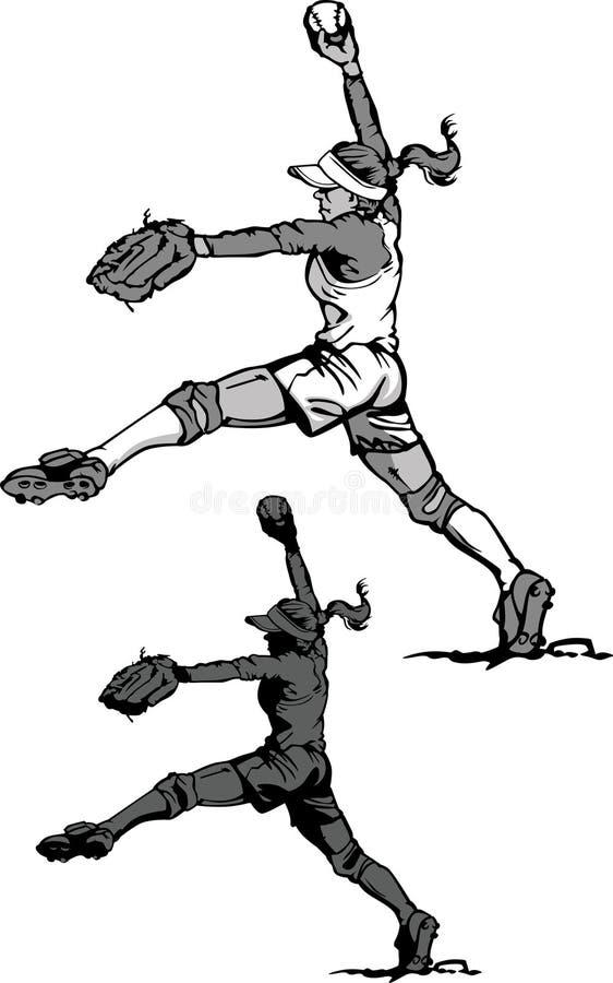 Mädchen-schnelle Nicken-Softball-Schattenbilder lizenzfreie abbildung