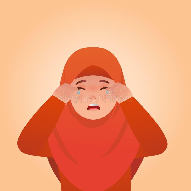 Mädchen-schreiende Ausdrücke gestikulieren, Karikatur-Illustration vektor abbildung