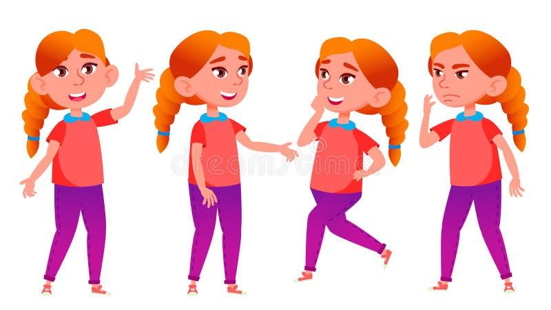 Mädchen-Schulmädchen-Kinderhaltungen eingestellter Vektor Highschool Kind redhead Kinderschüler Universität, Absolvent, Klasse fü vektor abbildung