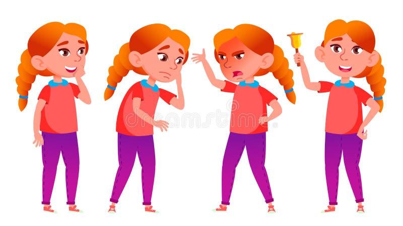Mädchen-Schulmädchen-Kinderhaltungen eingestellter Vektor redhead Highschool Kind Sekundarschulbildung Zufällige Kleidung, Freund lizenzfreie abbildung