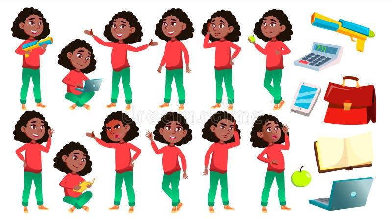 Mädchen-Schulmädchen-Kinderhaltungen eingestellter Vektor schwarzes Afroamerikanisch Highschool Kind Kinderstudie Wissen, lernt,  lizenzfreie abbildung