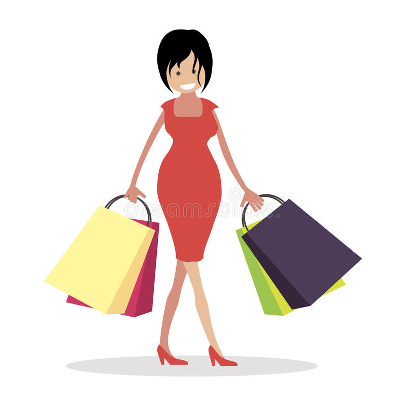 Mädchen Shopaholic Der Käufer des Speichers mit Taschen Frauencharaktervektor-Illustrationsleute lizenzfreie abbildung