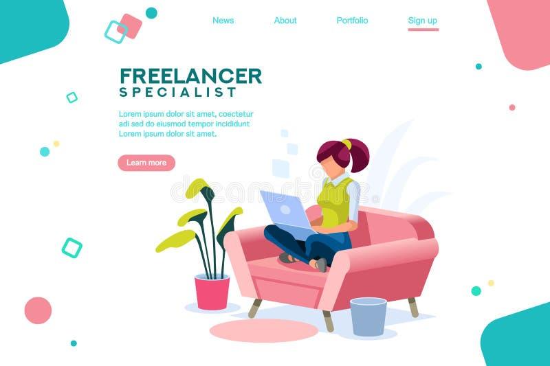 Mädchen-Sitzen auf Sofa Isometric Freelancer lizenzfreie abbildung